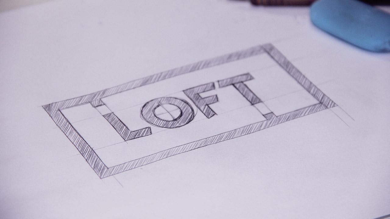 Concepção visual do logotipo Loft